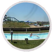 Lazy River Panorama At A Water Park Round Beach Towel