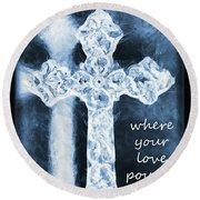 Lead Me To The Cross With Lyrics Round Beach Towel