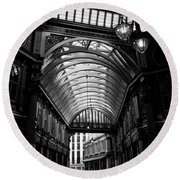 Leadenhall Market Black And White Round Beach Towel