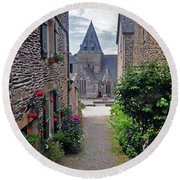 Leading To The Church Provence France Round Beach Towel