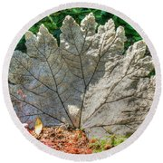 Leaf Art Round Beach Towel