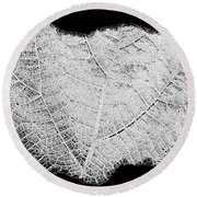 Leaf Design- Black And White Round Beach Towel
