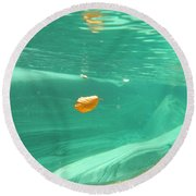 Leaf Floating Under The Water Round Beach Towel