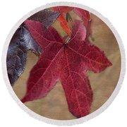 Leaf In Red Round Beach Towel
