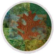 Leaf Life 01 - Green 01b2 Round Beach Towel