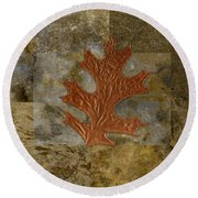 Leaf Life 01 -brown 01b2 Round Beach Towel