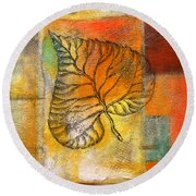 Leaf Whisper 4 Round Beach Towel