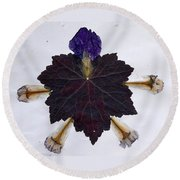 Leaf With Petals Round Beach Towel
