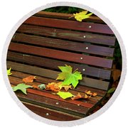 Leafs In Bench Round Beach Towel