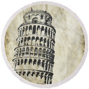 Leaning Tower Of Pisa On Old Paper Round Beach Towel by Setsiri Silapasuwanchai
