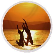 Leap Of Faith Round Beach Towel