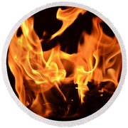 Leaping Flames Round Beach Towel