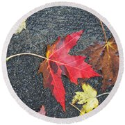 Leave The Leaves Round Beach Towel