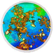 Leaves In A Pond Round Beach Towel