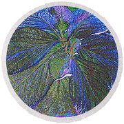 Leaves Of Blue Round Beach Towel