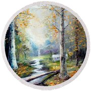 Leaving The Woodland Creek  Round Beach Towel