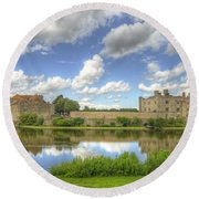 Leeds Castle Reflected Round Beach Towel