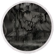 Legend Of The Old House In The Swamp Round Beach Towel