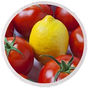 Lemon And Tomatoes Round Beach Towel