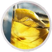 Lemon Drink Round Beach Towel by Carlos Caetano