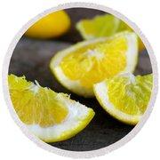 Lemon Quarters Round Beach Towel
