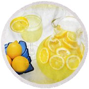 Lemonade And Summertime Round Beach Towel