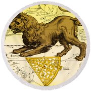 Leo, The Hevelius Firmamentum, 1690 Round Beach Towel by Science Source