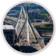 Leonard Yakim Bunker Hill Memorial Bridge Round Beach Towel
