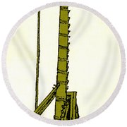 Leonardo Da Vincis Lifting Gear Round Beach Towel