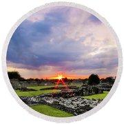 Lesnes Abbey Ruins Sunset Round Beach Towel