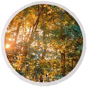Let The Earth Arise Round Beach Towel