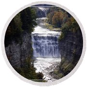 Letchworth State Park Middle Falls With Watercolor Effect Round Beach Towel