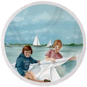 Let's Go Sailing  Round Beach Towel