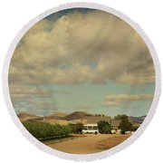 Let's Run Through The Orchard Round Beach Towel