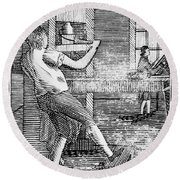Letter Press Printer, 1807 Round Beach Towel