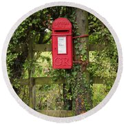 Letterbox In A Hedge Round Beach Towel