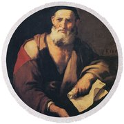 Leucippus, Ancient Greek Philosopher Round Beach Towel by Science Source