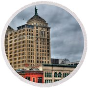 Liberty Building And Hotel Lafayette Round Beach Towel