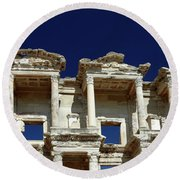 Library Of Celsus In Ephesus Round Beach Towel by Sally Weigand