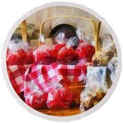 Licorice And Chocolate Covered Peanuts Round Beach Towel by Susan Savad