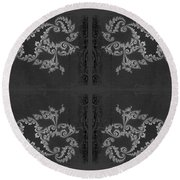 Licorice And Lace Round Beach Towel