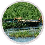 Life Along The Nile Round Beach Towel