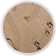 Footprints Mans Best Friend Round Beach Towel