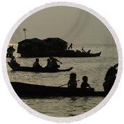 Life On Lake Tonel Sap Round Beach Towel