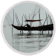 Life On Lake Tonle Sap  Round Beach Towel
