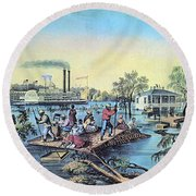 Life On The Mississippi, 1868 Round Beach Towel by Photo Researchers