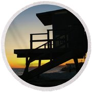 Lifeguard Silhouette Round Beach Towel