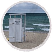 Lifeguard Station At The Beach Round Beach Towel