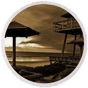 World War II Coastal Watchtower Round Beach Towel
