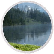 Lifting Fog On The Yellowstone Round Beach Towel